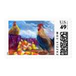 Fantasy Make Believe Chickens and Candy Corn Postage Stamp