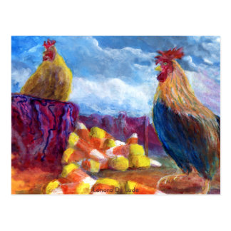 Fantasy Make Believe Chickens and Candy Corn Postcard