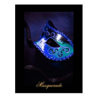 Fantasy Masquerade Mask BLue Fine Art Postcard