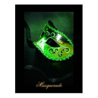 Fantasy Masquerade Mask Green Fine Art Postcard