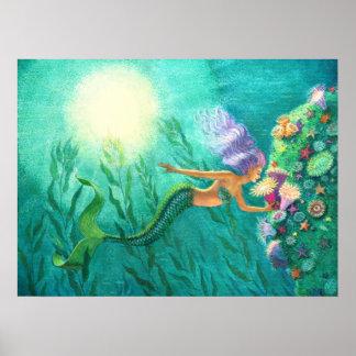 Fantasy Mermaid Art Poster Tropical Sea Garden