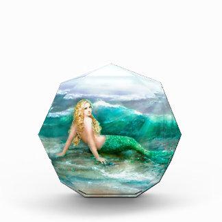 Fantasy Mermaid on Shore of Aqua Blue Sea Acrylic Award