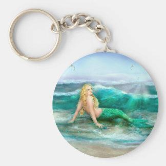 Fantasy Mermaid on Shore of Aqua Blue Sea Keychain
