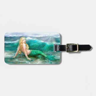 Fantasy Mermaid on Shore of Aqua Blue Sea Luggage Tag