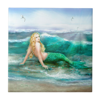 Fantasy Mermaid on Shore of Aqua Blue Sea Tile