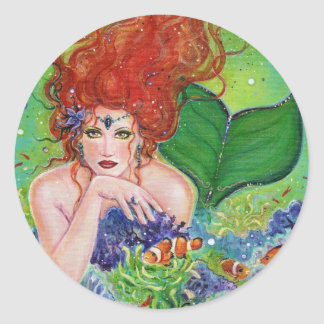 Fantasy Mermaid portrait stickers by Renee Lavoie