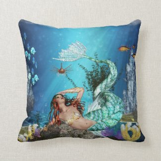 Fantasy Mermaid With Fish Polyester Throw Pillow