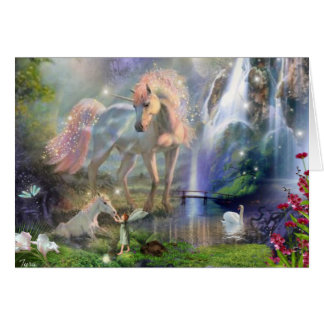 fantasy Mother Unicorn and Baby Card