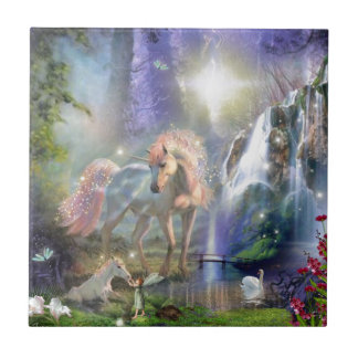 fantasy Mother Unicorn and Baby Tile