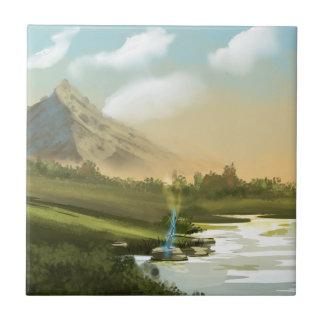 Fantasy mountain sword ceramic tile