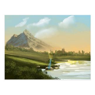 Fantasy mountain sword postcard