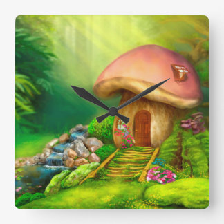 Fantasy mushroom cottage house square wall clock