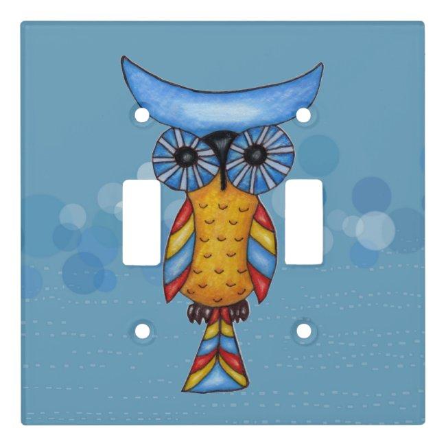 Fantasy Owl Blue Head Eyes on Circles Dashes