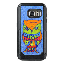 Fantasy Owl in Vivid Neon Colors on Blues OtterBox Samsung Galaxy S7 Case
