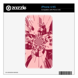 Fantasy Pink Abstract Retro Art Deco Decals For iPhone 4S