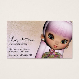 Fantasy Pink Hair Asian Style Girl Business Card 2