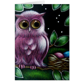 Fantasy Pink Owl & Easter Eggs Card