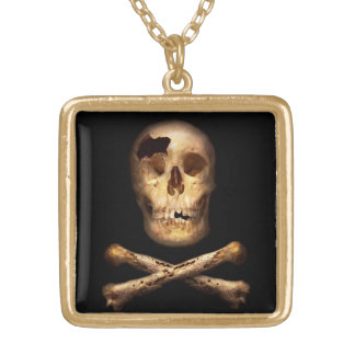 Fantasy - Pirate Flag - I'm a mighty pirate Gold Plated Necklace