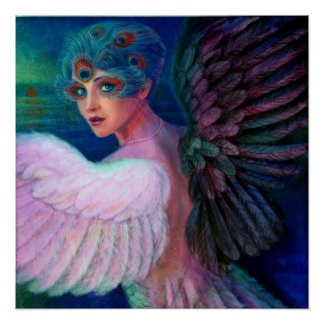 Fantasy Poster Peacock Feather Lady Art Dark Angel