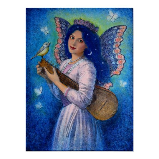 Fantasy Posters, Music Bird Fairy, Blue Hair Lady Poster