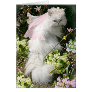 FANTASY PRINCESS CAT IN FLOWER GARDEN CARD