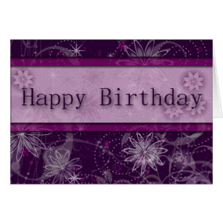 Fantasy Purple Floral Birthday Card