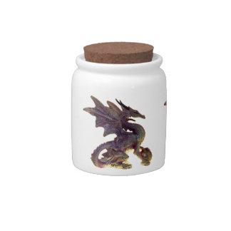 Fantasy Purple & Gold Dragon Candy Jar