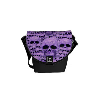 Fantasy purple gothic skull courier bag