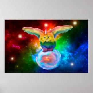 Fantasy Rainbow Mewnicorn Unicorn Kitten Space Bub Poster