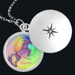 """Fantasy Rainbow Unicorn Personalized Locket Necklace<br><div class=""""desc"""">Fabulous faux sparkle and glitter effect mythical unicorn jumping through a rainbow; an ideal gift for anyone who believes in unicorns.Don"""