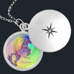 "Fantasy Rainbow Unicorn Personalized Locket Necklace<br><div class=""desc"">Fabulous faux sparkle and glitter effect mythical unicorn jumping through a rainbow; an ideal gift for anyone who believes in unicorns.Don't forget to customize it with a personal name for that extra special touch.</div>"