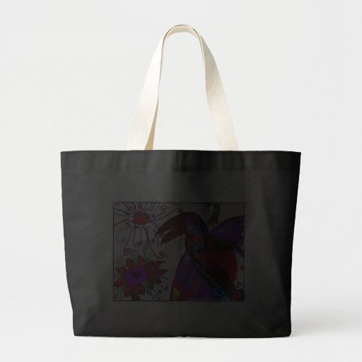 Fantasy Raven With flowers and heart totebag Bags