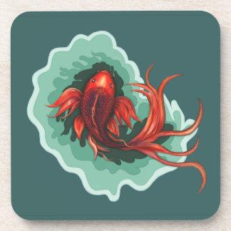 Fantasy Red and Black Koi Fish Drink Coaster
