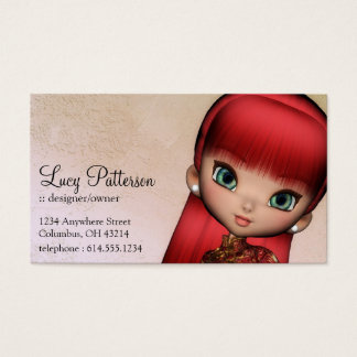 Fantasy Red Hair Asian Style Girl Business Card