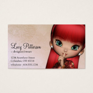Fantasy Red Hair Asian Style Girl Business Card 2