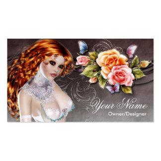Fantasy Redhead Beautiful Rose Woman Business Card