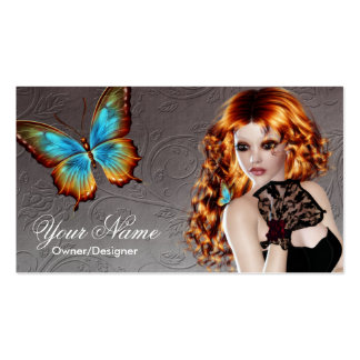 Fantasy Redhead Butterfly Woman Business Card