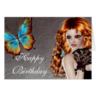 Fantasy Redhead with Butterfly Birthday Card