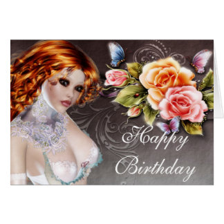 Fantasy Redhead with Roses Birthday Card