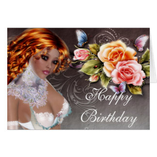Fantasy Redhead with Roses Birthday Card 2