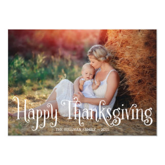Fantasy Script Happy Thanksgiving Photo Card