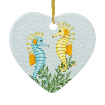 Beach Themed Fantasy Sea Horse and Bling Ceramic Ornament