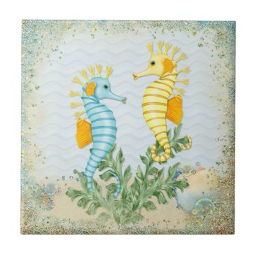 Beach Themed Fantasy Sea Horse and Bling Ceramic Tile