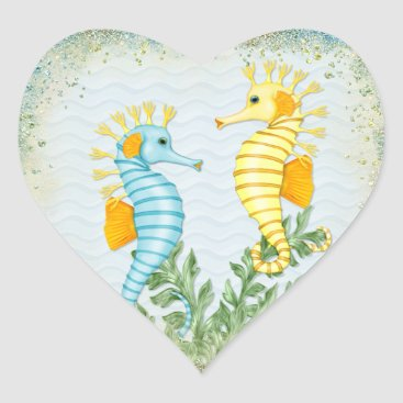 Beach Themed Fantasy Sea Horse and Bling Heart Sticker