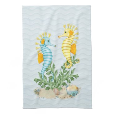 Beach Themed Fantasy Sea Horse and Bling Kitchen Towel
