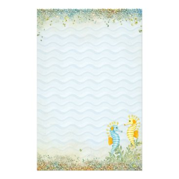Beach Themed Fantasy Sea Horse and Bling Stationery