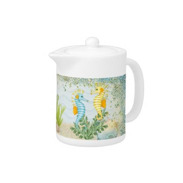 Beach Themed Fantasy Sea Horse and Bling Teapot
