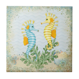 Fantasy Sea Horse and Bling Tile