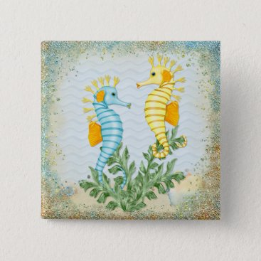 Beach Themed Fantasy Seahorse and Bling Button