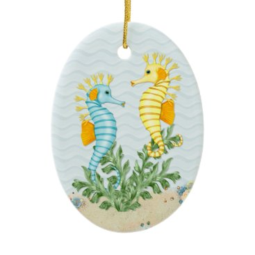 Beach Themed Fantasy Seahorse and Bling Ceramic Ornament